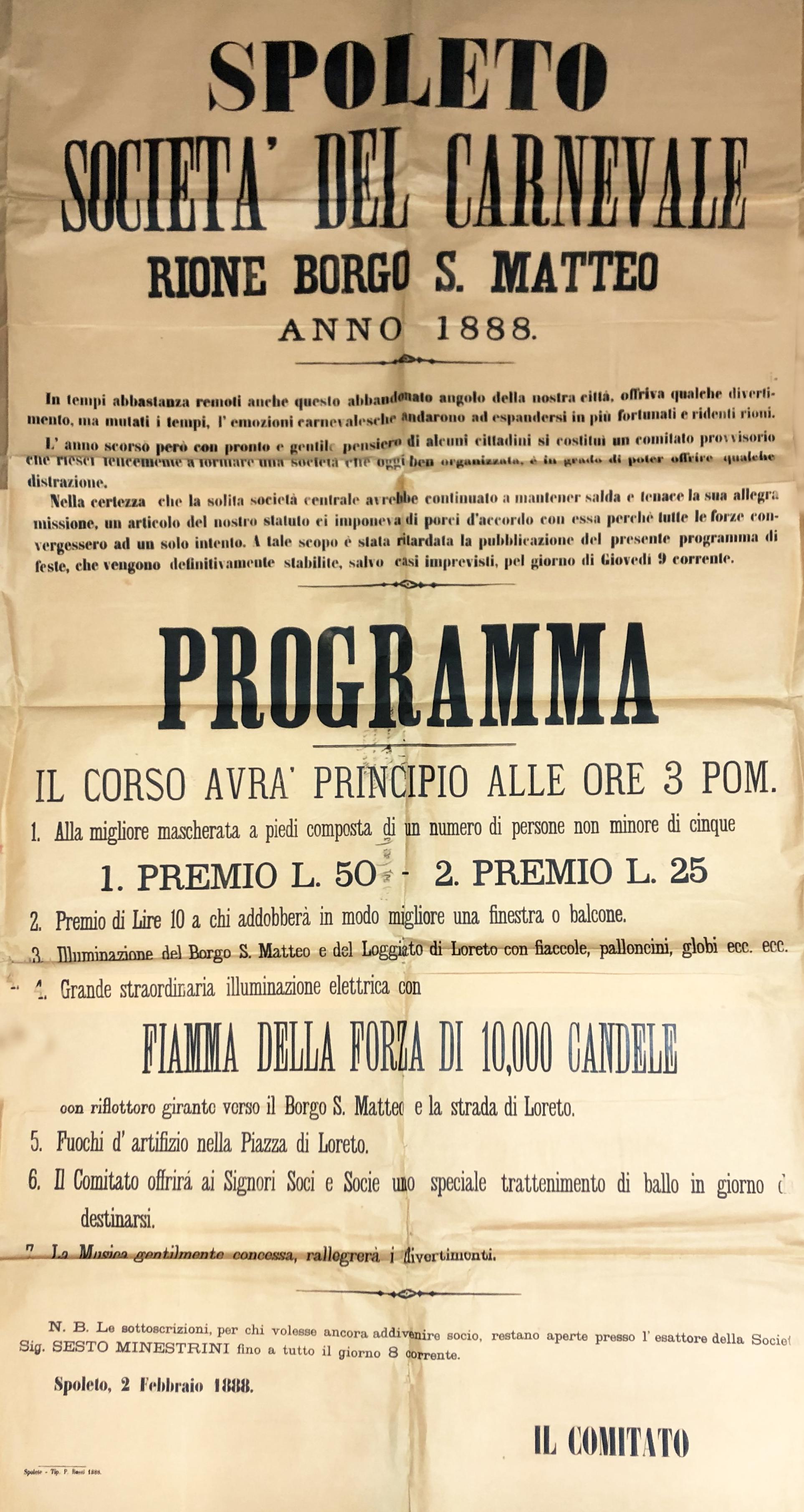 1888. | Borgo San Matteo