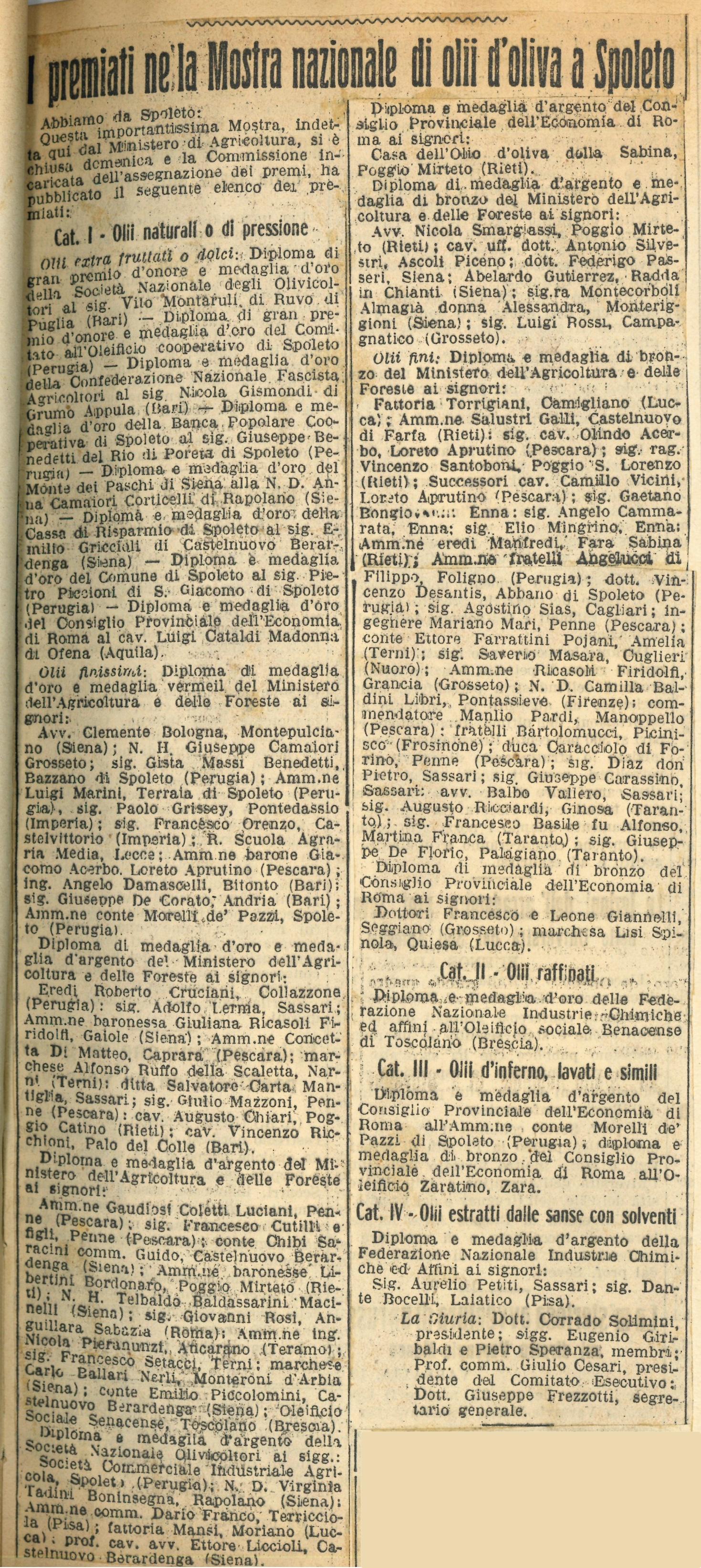 Articolo 'Il Messaggero' | 1930