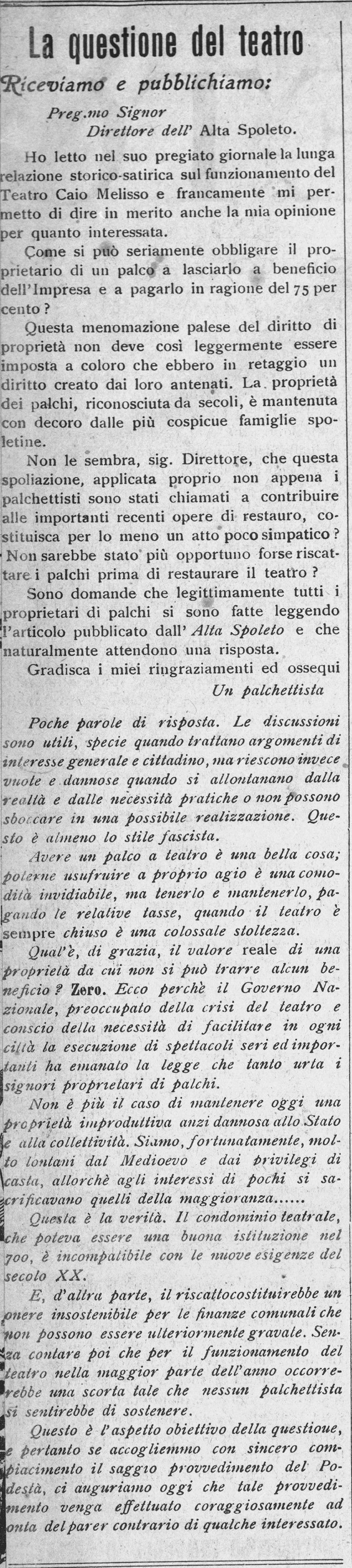 L'Alta Spoleto | 30 novembre 1929