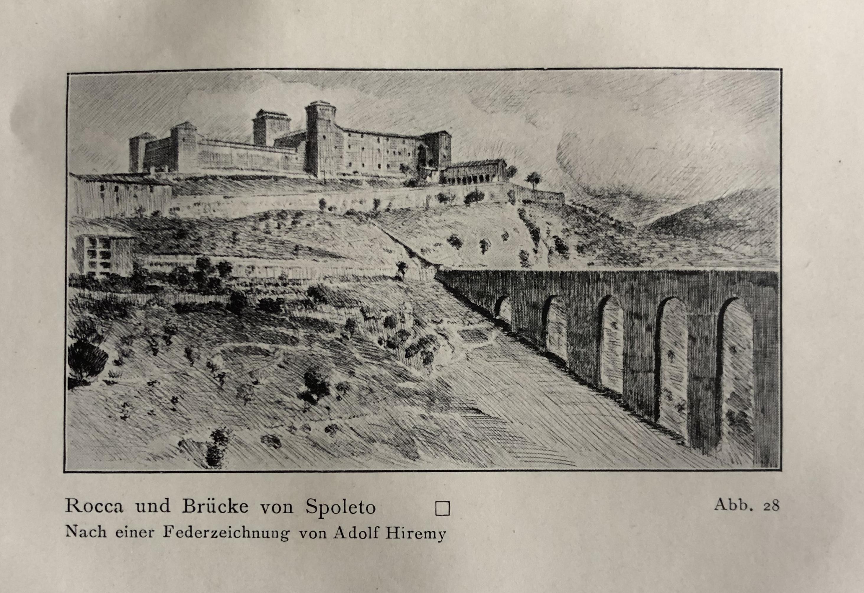 """""""Rocca und Brücke von Spoleto"""" di Adolf Hirémy"""