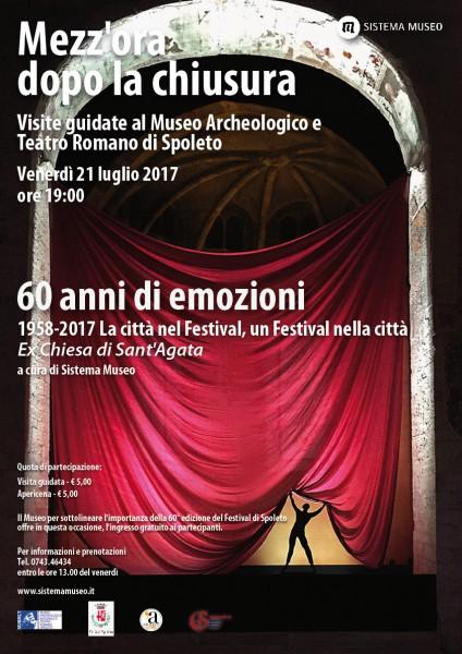 <!--:it-->Mezz'ora dopo la chiusura - 60 ANNI DI EMOZIONI<!--:--><!--:en-->Mezz'ora dopo la chiusura - 60 YEARS OF EMOTIONS<!--:--> @ Ex Chiesa di Sant'Agata | Spoleto | Umbria | Italia