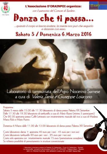 <!--:it-->Danza che ti passa... - Laboratori di danza e tamburello<!--:--> @ Palestra XX Settembre | Spoleto | Umbria | Italia
