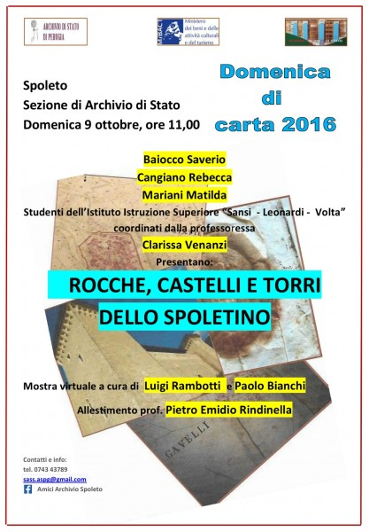 <!--:it-->Domenica di Carta 2016 - Rocche, castelli e torri<!--:--> @ Archivio di Stato | Spoleto | Umbria | Italia