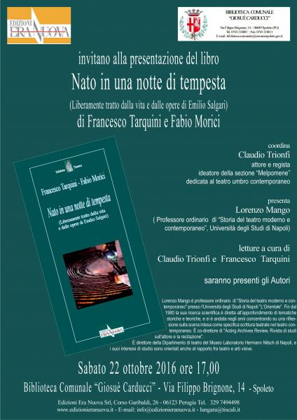 <!--:it-->Presentazione libro NATO IN UNA NOTTE DI TEMPESTA di Francesco Tarquini e Fabio Morici<!--:--> @ Biblioteca Comunale G. Carducci | Spoleto | Umbria | Italia