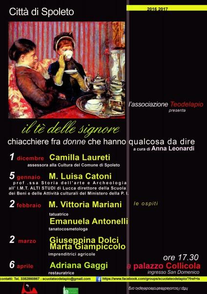 <!--:it-->Il tè delle signore - Chiacchiere fra donne che hanno qualcosa da dire<!--:--><!--:en-->Ladies' Teatime - Women who have something to say<!--:--> @ Palazzo Collicola (ingresso San Domenico) | Spoleto | Umbria | Italia