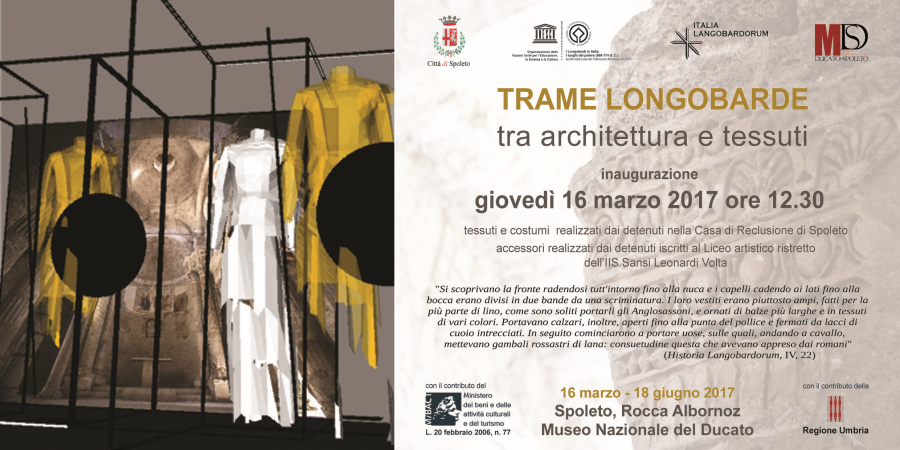 <!--:it-->TRAME LONGOBARDE - Tra architettura e tessuti<!--:--><!--:en-->TRAME LONGOBARDE - exhibition at the Rocca Albornoz<!--:--> @ Rocca Albornoziana | Spoleto | Umbria | Italia