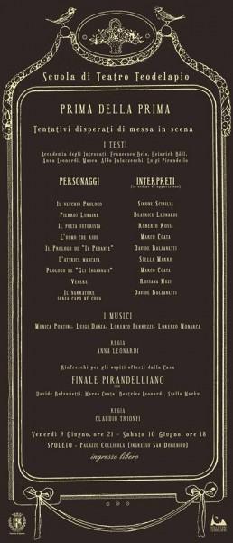 <!--:it-->PRIMA DELLA PRIMA - Saggio finale della scuola di teatro IL TEODELAPIO<!--:--><!--:en-->PRIMA DELLA PRIMA (Before the premiere) - Teodelapio theater school<!--:--> @ Palazzo Collicola (ingresso San Domenico) | Spoleto | Umbria | Italia