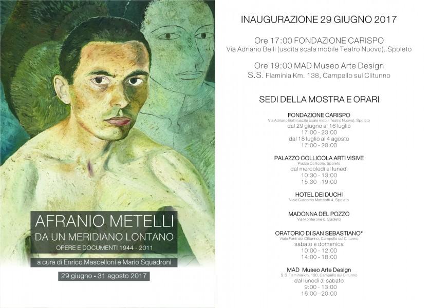 <!--:it-->Afranio Metelli - DA UN MERIDIANO LONTANO. Opere e documenti 1944-2011 <!--:--> @ Spoleto e Campello sul Clitunno