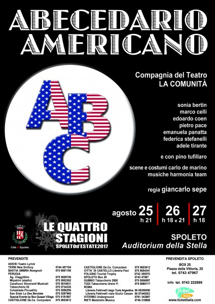 <!--:it-->ABECEDARIO AMERICANO - spettacolo teatrale<!--:--><!--:en-->ABECEDARIO AMERICANO - theatre play<!--:--> @ Auditorium della Stella | Spoleto | Umbria | Italia