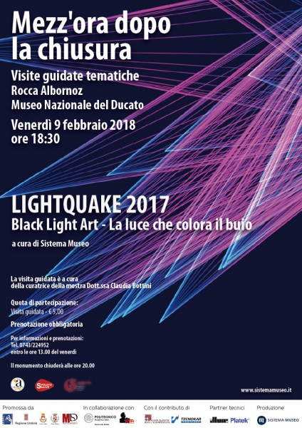 <!--:it-->Mezz'ora dopo la chiusura - Visita guidata alla mostra LightQuake2017<!--:--><!--:en-->Mezz'ora dopo la chiusura - Guided visit to the LightQuake2017 Exhibition<!--:--> @ Rocca Albornoz - Museo Nazionale del Ducato | Spoleto | Umbria | Italia