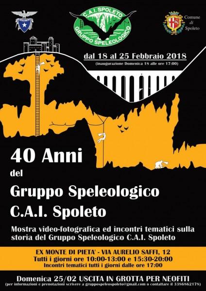 <!--:it-->40 anni del Gruppo Speleologico CAI Spoleto: mostra video-fotografica e incontri tematici <!--:--><!--:en-->40 years of CAI Spoleto Speleological Group: Video photo exhibition and meetings <!--:--> @ Ex Monte di Pietà | Spoleto | Umbria | Italia