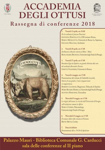 <!--:it-->Accademia degli ottusi - Rassegna di Conferenze 2018<!--:--> @ Biblioteca comunale G. Carducci, sala conferenze II piano | Spoleto | Umbria | Italia