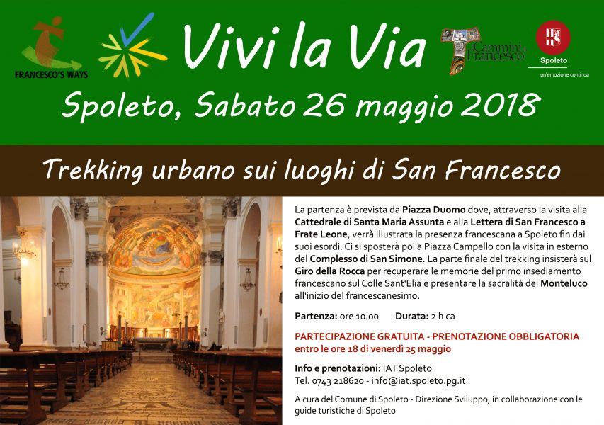 <!--:it-->VIVI LA VIA - Trekking urbano con guida turistica sui luoghi di San Francesco<!--:--><!--:en-->VIVI LA VIA  - Urban trekking with tourist guide in the footsteps of St. Francis<!--:--> @ Spoleto - Ritrovo in Piazza Duomo | Spoleto | Umbria | Italia