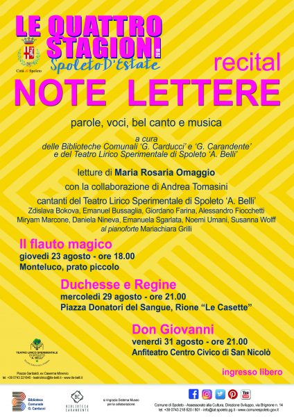 <!--:it-->Note Lettere - parole, voci, bel canto e musica<!--:--><!--:en-->Notes and Letters, Known Letters - Words, Voices, Belcanto and Music<!--:--> @ Anfiteatro Centro Civico di San Nicolò | Spoleto | Umbria | Italia