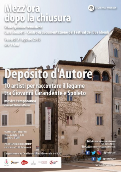 "<!--:it-->Mezz'ora dopo la chiusura - ""Deposito d'Autore"" - 10 artisti per raccontare il legame tra Giovanni Carandente e Spoleto<!--:--><!--:en-->Mezz'ora dopo la chiusura - ""Deposito d'Autore"" - 10 artists to recall the relationship between Giovanni Carandente and Spoleto<!--:--> @ Casa Menotti  
