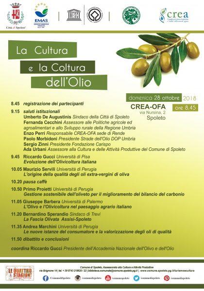 <!--:it-->La Cultura e la Coltura dell'Olio - Convegno <!--:--> @ Istituto Sperimentale per l'Olivicoltura CREA_OFA | Spoleto | Umbria | Italia