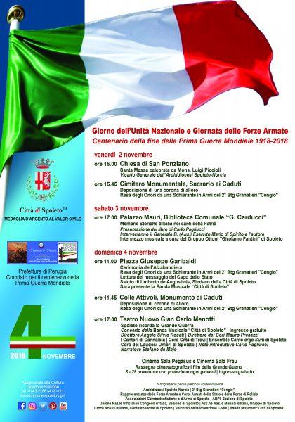 <!--:it-->Giorno dell'Unità Nazionale e Giornata delle Forze Armate | Centenario della fine della Prima Guerra Mondiale 1918-2018<!--:--> @ Spoleto
