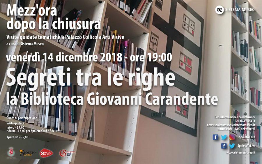 <!--:it-->Mezz'ora dopo la chiusura - Segreti tra le righe | La Biblioteca Giovanni Carandente<!--:--> @ Palazzo Collicola Arti Visive | Spoleto | Umbria | Italia