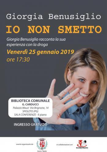 """<!--:it-->Io non smetto. Giorgia Benusiglio racconta la sua esperienza con la droga<!--:--><!--:en-->I Won't Quit - Giorgia Benusiglio discusses her experience with drugs<!--:--> @ Biblioteca Comunale """"G. Carducci"""""""