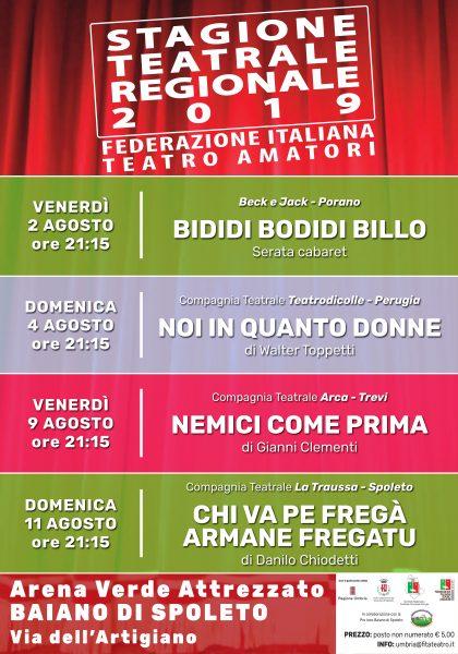 <!--:it-->Stagione Teatrale Regionale 2019 FITA - Federazione Italiana Teatro Amatori<!--:--> @ Arena Verde Attrezzato di Baiano di Spoleto, Via dell'Artigianato