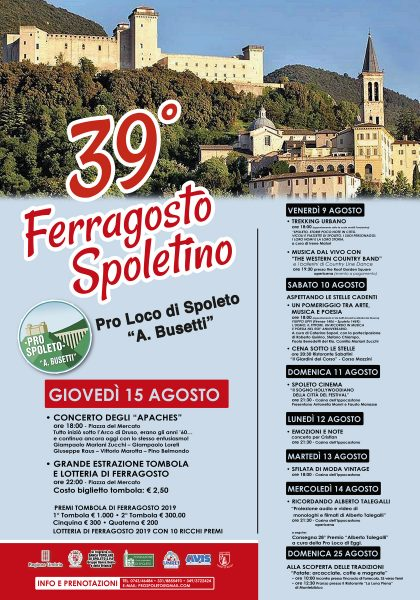 <!--:it-->39° FERRAGOSTO SPOLETINO | Tombola e Lotteria<!--:--><!--:en-->39° FERRAGOSTO SPOLETINO | MID-AUGUST EVENTS Tombola and Lottery<!--:--> @ Piazza del Mercato