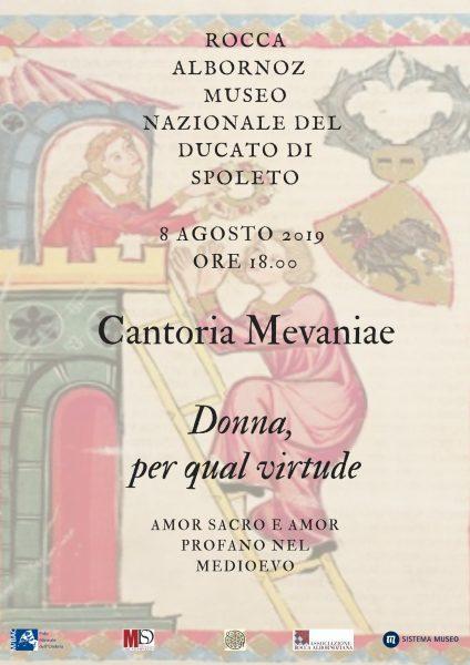 <!--:it-->Concerto | Donna, per qual virtude. Amore sacro e amor profano nel Medioevo<!--:--><!--:en-->Concert | Donna, per qual virtude. Sacred and profane love in the Middle Ages<!--:--> @ Rocca Albornoz - Museo Nazionale del Ducato di Spoleto