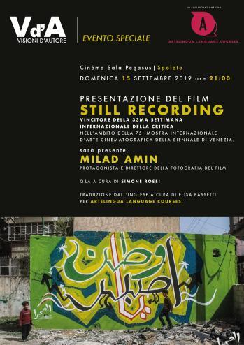 <!--:it-->VISIONI D'AUTORE | Presentazione di STILL RECORDING di Saeed Al Batal e Ghiath Ayoub<!--:--><!--:en-->Visioni d'Autore | Presentation of STILL RECORDING by Saeed Al Batal and Ghiath Ayoub<!--:--> @ Cinéma Sala Pegasus