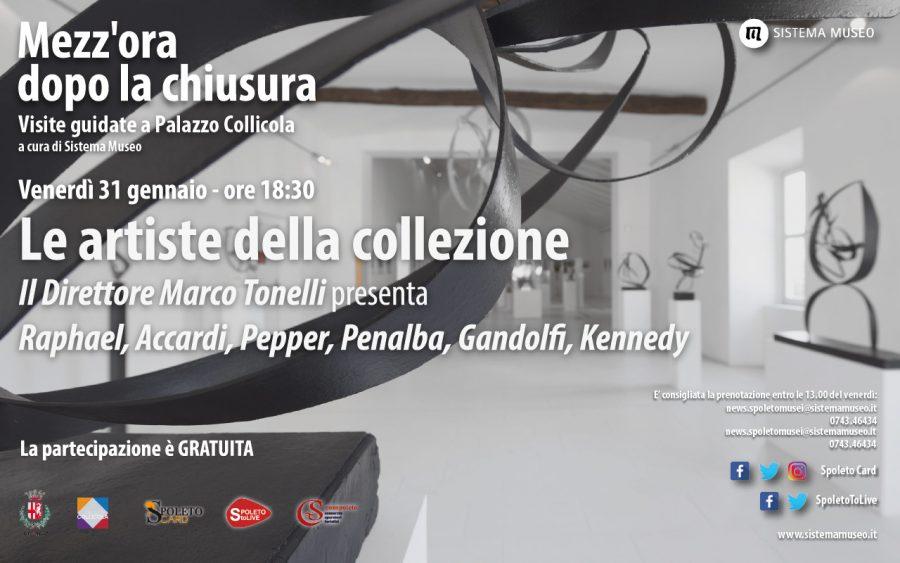 <!--:it-->Mezz'ora dopo la chiusura | Il Direttore Marco Tonelli presenta: Raphael, Accardi, Pepper, Penalba, Gandolfi, Kennedy LE ARTISTE DELLA COLLEZIONE<!--:--><!--:en-->Mezz'ora dopo la chiusura | Director Marco Tonelli presents Raphael, Accardi, Pepper, Penalba, Gandolfi, Kennedy WOMEN ARTISTS IN THE COLLECTION<!--:--> @ Palazzo Collicola
