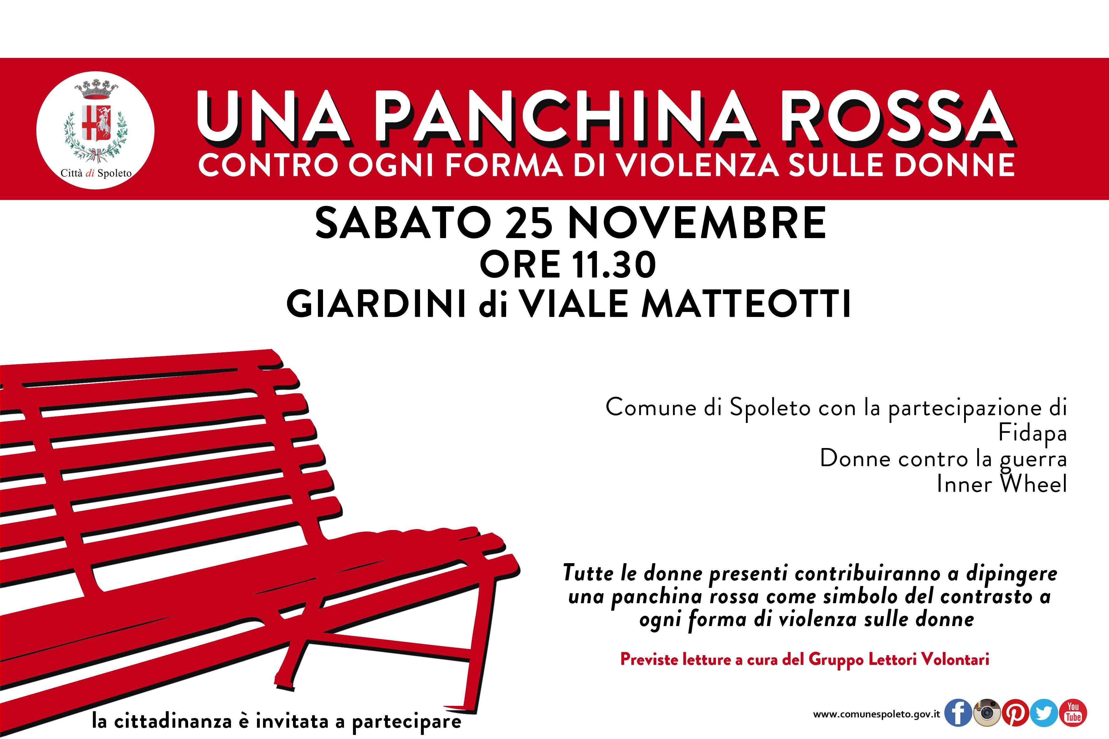 una panchina rossa contro la violenza sulle donne comune di spoleto comune di spoleto